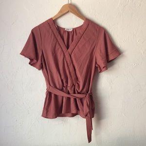 SIENNA SKY dusty pink wrap tie shirt v-neck M